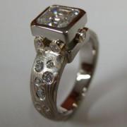 Mokume Gane Custom Setting for Cushion Cut Diamond