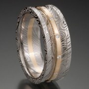 Concave Damascus Ring with 18ky Wide Rail Center with diamonds