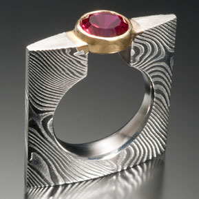 Fancy Square Airfoil Ring with 18ky setting for ruby