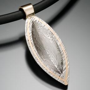 Damascus Shield Pendant Back