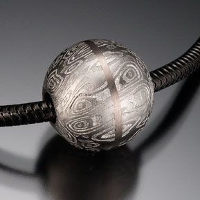 Damascus Sphere Bead with 18kpw Inlay