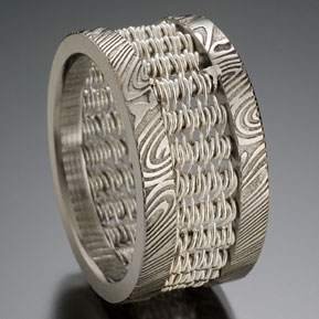 Damascus Weave Ring with Fine Silver Weave