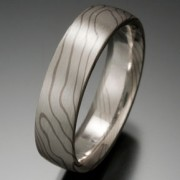 Thin Lines Pattern Mokume Gane Ring, White and Gray