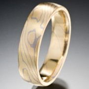 Thin Lines Pattern Mokume Gane Ring, Yellow and Gray
