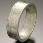 Orb Pattern Mokume Gane Ring, Gray and White