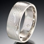 Classic Wood Grain Pattern Mokume Gane Ring, Triple White
