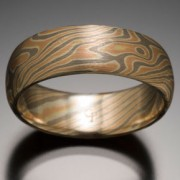 Classic Wood Grain Pattern Mokume Gane Ring, Red, Gray and White