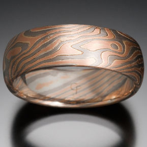 Oak Mokume In 14k Red Gold 14k Pd White Gold And Silver