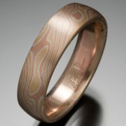 Classic Wood Grain Pattern Mokume Gane Ring, Yellow, Red and White