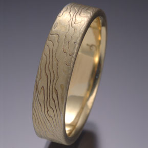 Classic Wood Grain Pattern Mokume Gane Yellow and White, Etched