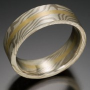 Classic Wood Grain Pattern Mokume Gane Ring with Gold Center, Gray, White and Yellow