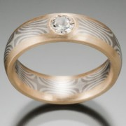 Star Pattern Mokume Gane Ring, Gray and White Stars with Wide Rails of Gold With .15 Carat Diamond