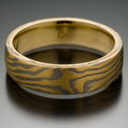 Wood Grain Pattern Mokume Gane Ring, 18k Yellow Gold and Meteorite