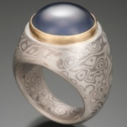 Hollow Construction Mokume Gane Ring with Blue Chalcedony