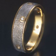 Sirius Meteorite Ring with 18ky and Diamonds