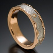 Arcturus Meteorite Ring with 14kred and Diamonds