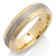 Canopus Meteorite with 18k Yellow Gold and 14 Diamonds