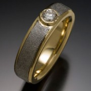 Vega Meteorite Ring with 18ky and .20 Carat Diamond