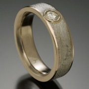 Vega Meteorite Ring with 18kpw and .20 Carat Diamond