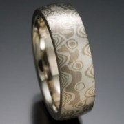 Seamless Peaks and Valleys Pattern Mokume Gane Ring, Gray and White