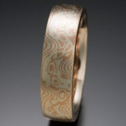 Seamless Low Frequency Pattern Mokume Gane Ring, Red and White
