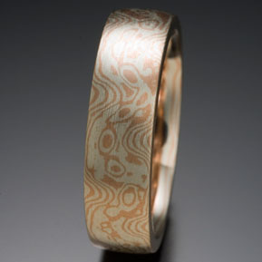 Low Frequency Mokume in 14k Red Gold and Silver