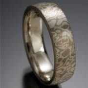 Seamless Wood Grain Pattern Mokume Gane Ring, Gray and White