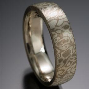 Seamless Wood Grain Pattern Mokume Gane Ring, Gray and White
