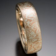 Seamless Random Pattern Mokume Gane Ring, Red and White