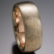 Seamless Water's Edge Pattern Mokume Gane Ring, Red and White