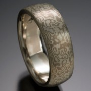 Seamless Water's Edge Pattern Mokume Gane Ring, Gray and White