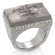 Brick Face Ring with 18k Pd White Gold Lining and Pave