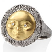 Large Moon Face Ring with 18k Yellow Gold
