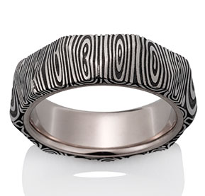 The Pantheon Ring 16-26, oxidized, with 18k Pd White Gold Lining