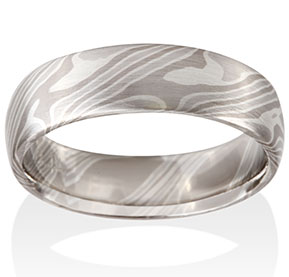 Ash Mokume in Platinum, 14k Pd White Gold and Silver