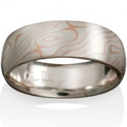 Aspen Mokume in Silver and 14k Red Gold