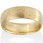 Aspen Mokume in 18k Yellow Gold and 14k Pd White Gold
