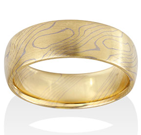 Aspen Mokume in 18k Yellow Gold and 14k Pd White Gold