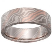 Beech Mokume in Pd500, 14k Red Gold and Silver