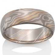 Beech Mokume in Pd500, 14k Yellow Gold and Silver