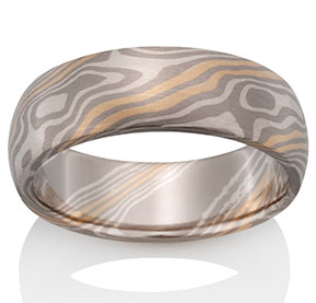 mokume product gane copper rings full silver striped moon ring