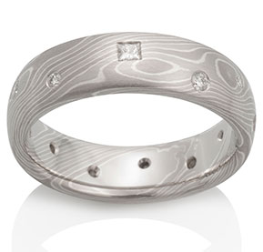 Birch Mokume in Pd950, 14k Pd White Gold and Silver with Diamonds