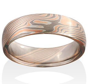 Birch Mokume in 14k Red Gold, 14k Pd White Gold and Silver