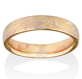 Birch Mokume in 14k Red Gold, 14k Yellow Gold and Silver
