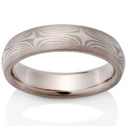 Cedar Mokume in 14k Pd White Gold and Silver with 14k Pd White Gold Channel