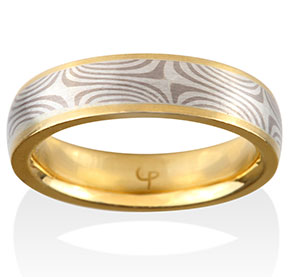Cedar Mokume in 14k Pd White Gold and Silver with 18k Yellow Gold Channel