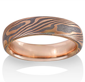 Maple Mokume in 14k Red Gold and Meteorite