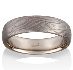 Maple Mokume in 14k Pd White Gold and Meteorite