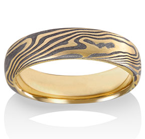 Maple Mokume in 18k Yellow Gold and Meteorite