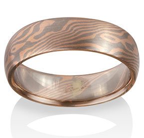 Maple Mokume in 14k Red Gold and Pd500
